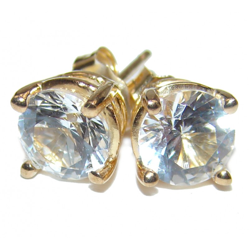 6mm 0.8ctw White topaz Round Stud Earrings 14Kt Yellow Gold