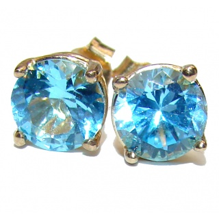 Deluxe genuine Swiss Blue Topaz 6 mm real 14K Gold stud earrings