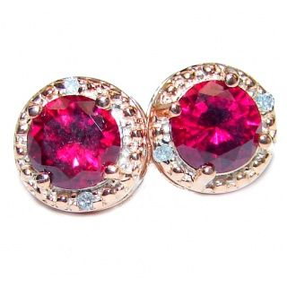 9mm 1.1ctw Ruby Round Stud Earrings 14Kt Yellow Gold