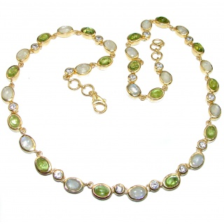 Great Masterpiece genuine Peridot Moonstone 18K Gold over .925 Sterling Silver handmade necklace