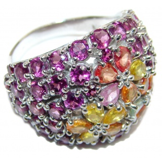 Summer Meadow Genuine Garnet Sapphire .925 Sterling Silver handcrafted Statement Ring size 8