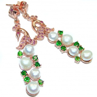 Gracious Swan Pearl Rose God over .925 Sterling Silver handmade Earrings