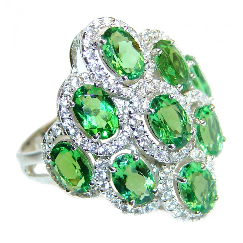 Spectacular Natural Tsavorite Garnet .925 Sterling Silver handcrafted ring size 7