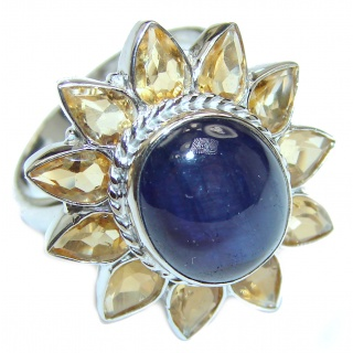Large Genuine Sapphire Citrine .925 Sterling Silver handcrafted Statement Ring size 8 3/4