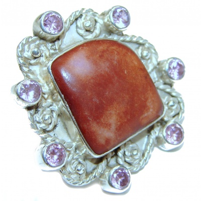 Genuine Red Jasper .925 Sterling Silver handcrafted ring s. 8