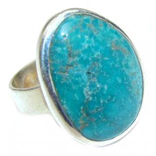 Huge Green Turquoise .925 Sterling Silver handcrafted ring; s. 10 1/2