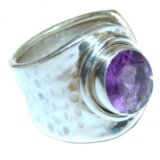 Spring Blooming Natural Amethyst .925 Sterling Silver handcrafted ring size 8