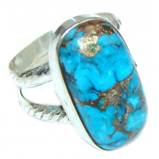Huge Blue Turquoise .925 Sterling Silver handcrafted ring; s. 9 1/2