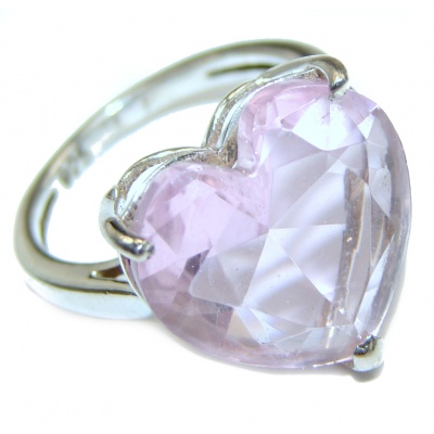 Spectacular genuine Pink quartz .925 Sterling Silver handcrafted Ring size 6 1/4