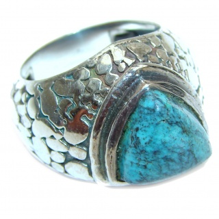 Huge Blue Turquoise .925 Sterling Silver handcrafted ring; s. 8 1/4