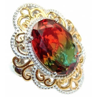 Huge Top Quality Volcanic Tourmaline 18K Gold over .925 Sterling Silver handcrafted Ring s. 6 3/4