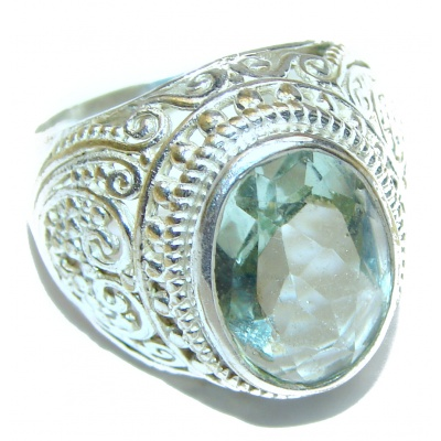 Mysterious Green Quartz Sterling Silver handmad ring s. 7