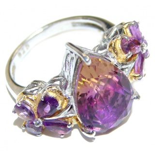 Genuine 25ct Bi- color Ametrine .925 Sterling Silver handcrafted ring; s. 7