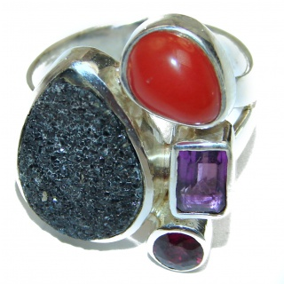 Huge Exotic Druzy Agate Sterling Silver Ring s. 7 adjustable