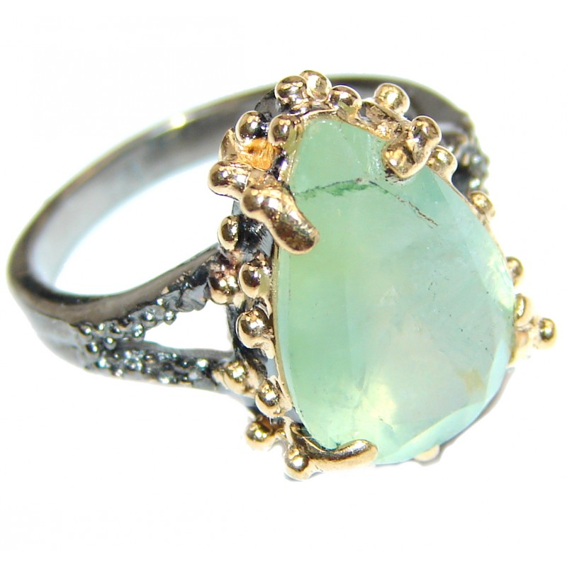 Natural Moss Prehnite 14K Gold over .925 Sterling Silver handmade ring s. 7 1/4