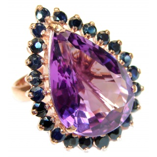 Jumbo 65ctw Natural Amethyst 18K Gold over .925 Sterling Silver handcrafted ring size 8