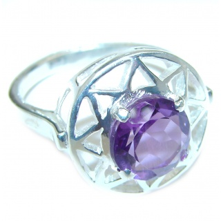 Spectacular Natural Amethyst .925 Sterling Silver handcrafted ring size 10