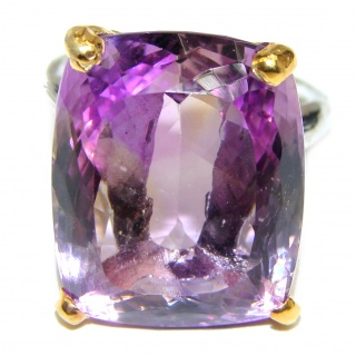 Large Royal style Natural Ametrine 18K Gold over .925 Sterling Silver handcrafted ring size 8