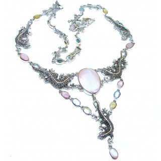 Chameleons design genuine Mother of pearl .925 Sterling Silver handcrafted Necklace