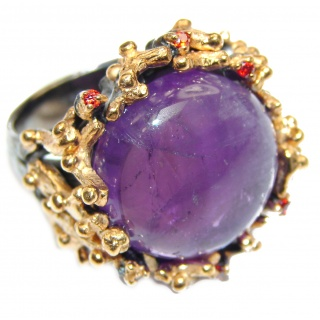 Large Victorian Style genuine Amethyst .925 Sterling Silver handcrafted Ring size 8