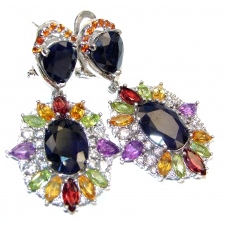 Large Incredible quality Authentic Sapphire .925 Sterling Silver handmade earrings