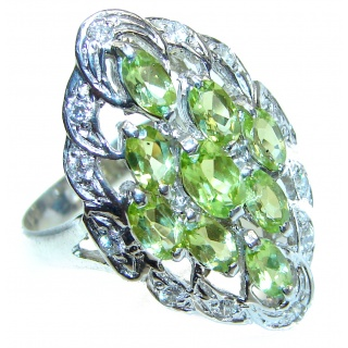 Aurora Spectacular Natural Peridot .925 Sterling Silver handcrafted ring size 9 1/4