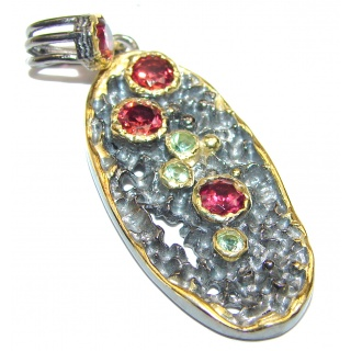 Posh Authentic Garnet Peridot .925 Sterling Silver Pendant