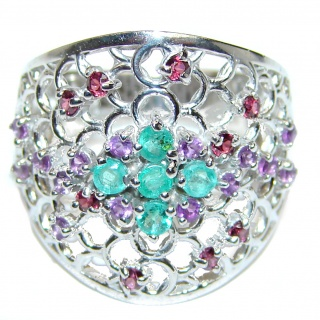 Large Natural Emerald Amethyst .925 Sterling Silver handmade Statement ring s. 8