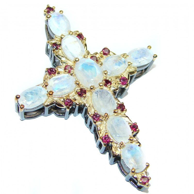 Victorian Style Holy Cross genuine Fire Moonstone .925 Sterling Silver handmade pendant