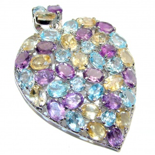 Vintage Design GENUINE Multigem .925 Sterling Silver handcrafted LARGE Pendant & Brooch