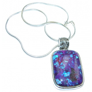 Unusal Style Purple Turquoise .925 Sterling Silver handmade necklace