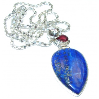 Great Masterpiece genuine Lapis Lazuli .925 Sterling Silver handmade necklace