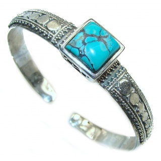 Large Fish Genuine inlay Turquoise Marcasite .925 Sterling Silver handmade Bracelet Bangle