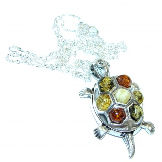 Turtle Natural Polish Amber .925 Sterling Silver handcrafted necklace