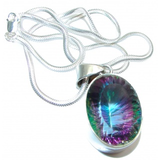 Magic Reef Rainbow Topaz .925 Sterling Silver handmade necklace