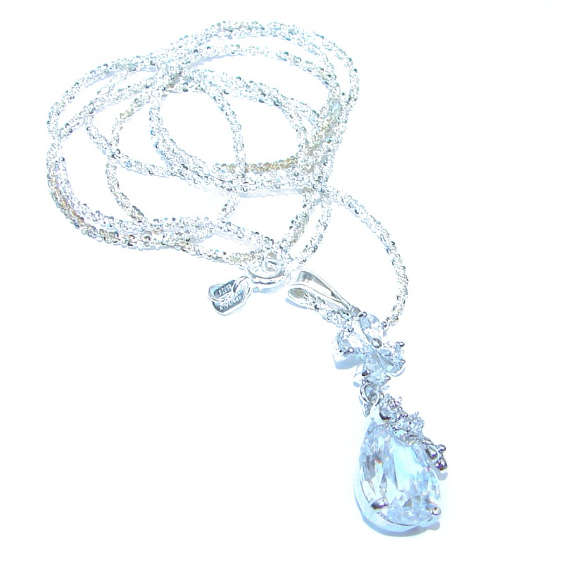 Incredible Posh Authentic White Topaz .925 Sterling Silver necklace