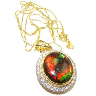 Simple Design genuine Canadian Ammolite .925 Sterling Silver handcrafted necklace