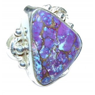 Huge Purple Turquoise .925 Sterling Silver handcrafted ring; s. 6 1/4