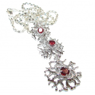 Vintage Design Genuine Garnet .925 Sterling Silver handmade necklace