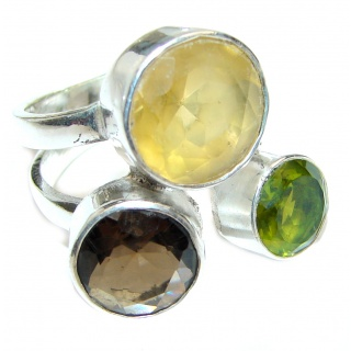 Genuine Multistone .925 Sterling Silver handmade Cocktail Ring s. 8