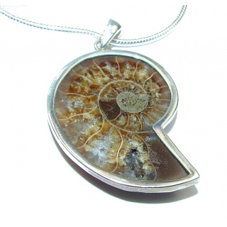 Aura Of Beauty genuine Ammonite .925 Sterling Silver handcrafted Necklace
