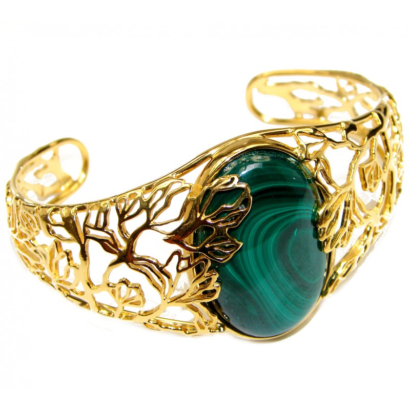 Natural Malachite 18k Gold over .925 Sterling Silver handcrafted Bracelet / Cuff