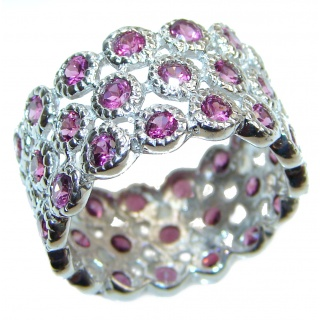 Genuine Kashmir Ruby .925 Sterling Silver handcrafted Statement Ring size 7 3/4