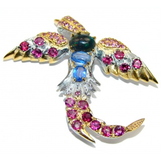 Incredible Flaying Bird Natural Black Opal Ruby 925 Sterling Silver Pendant Brooch