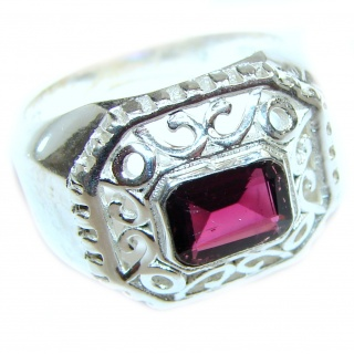 Perfect Garnet Sterling Silver Ring s. 8