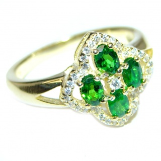 My sweet Flower Chrome Diopside .925 Sterling Silver Statement ring size 7 3/4