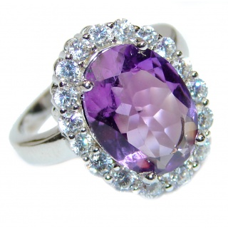Purple African Amethyst Rose Gold over .925 Sterling Silver Ring size 7