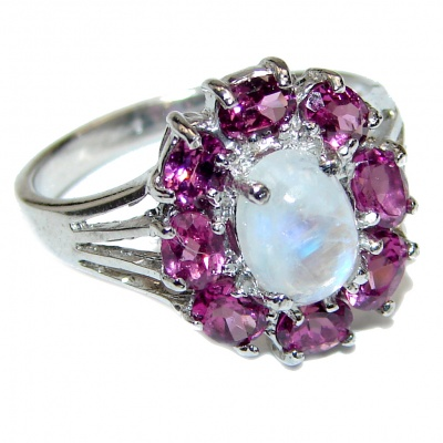 Angelica Rainbow Moonstone Garnet .925 Sterling Silver handmade Ring size 8