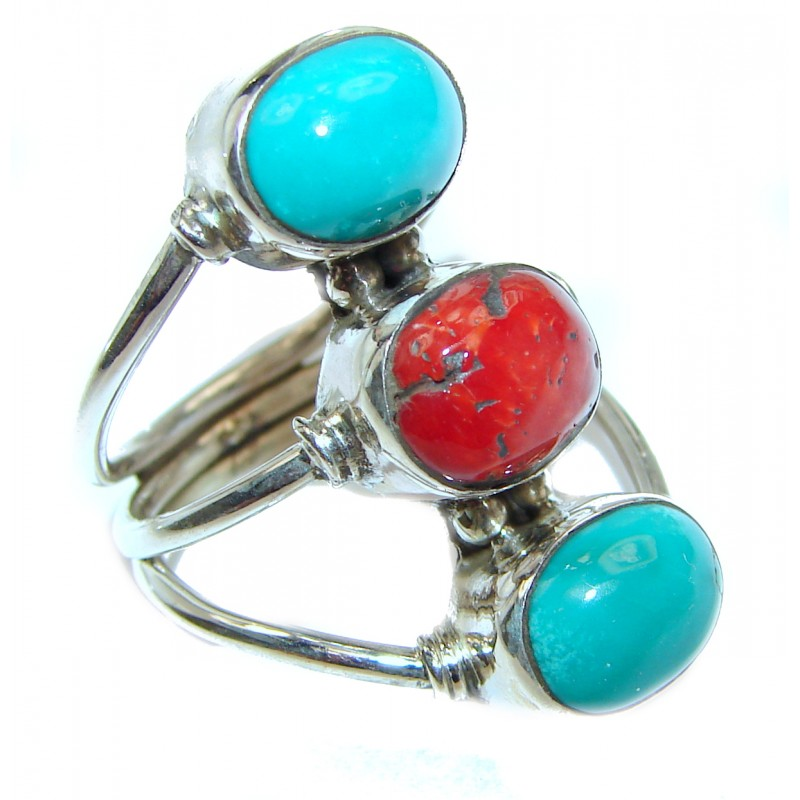 Natural Fossilized Coral Turquoise .925 Sterling Silver handmade ring s. 6 1/2