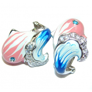 Genuine Enamel Pink Dolphin .925 Sterling Silver handcrafted Earrings